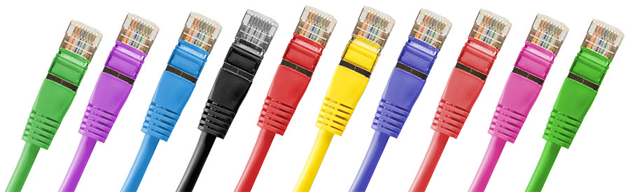 Multiple Colored Ethernet Cables Lined Up - Smaller
