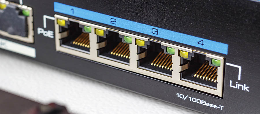 Ethernet switch ports with PoE function closeup