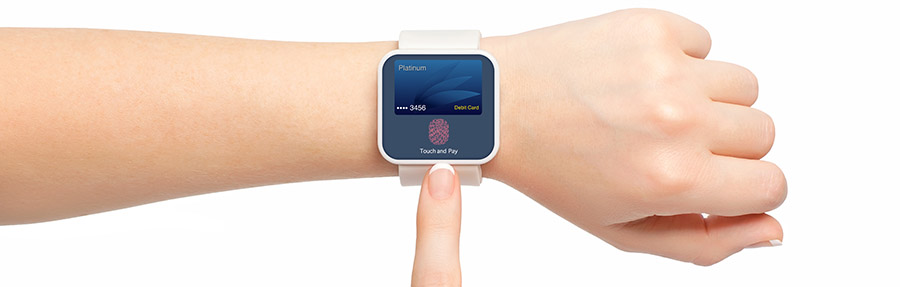female hands smartwatch debit card app touch and pay