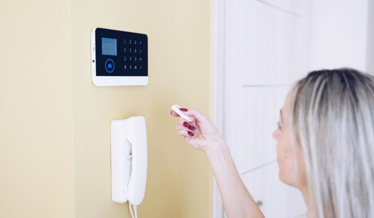 hand holding remote controlled home security system